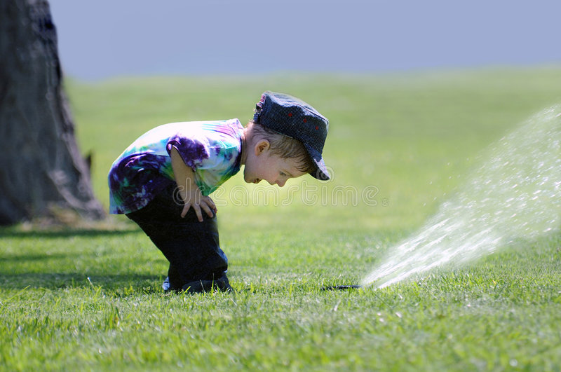 Download Boy Playing with Sprinkler stock photo. Image of cute - 8299386