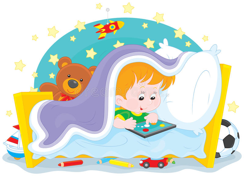 Boy playing on a tablet royalty free illustration