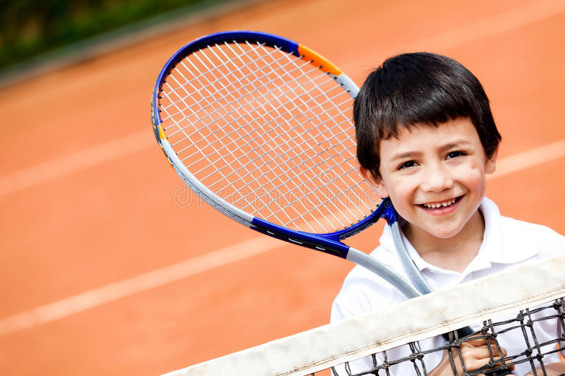 Download Boy playing tennis stock photo. Image of court, cute - 23133294