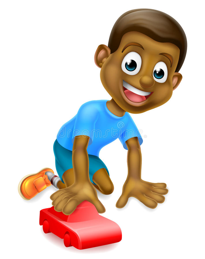 Boy Playing With Toy Car stock illustration
