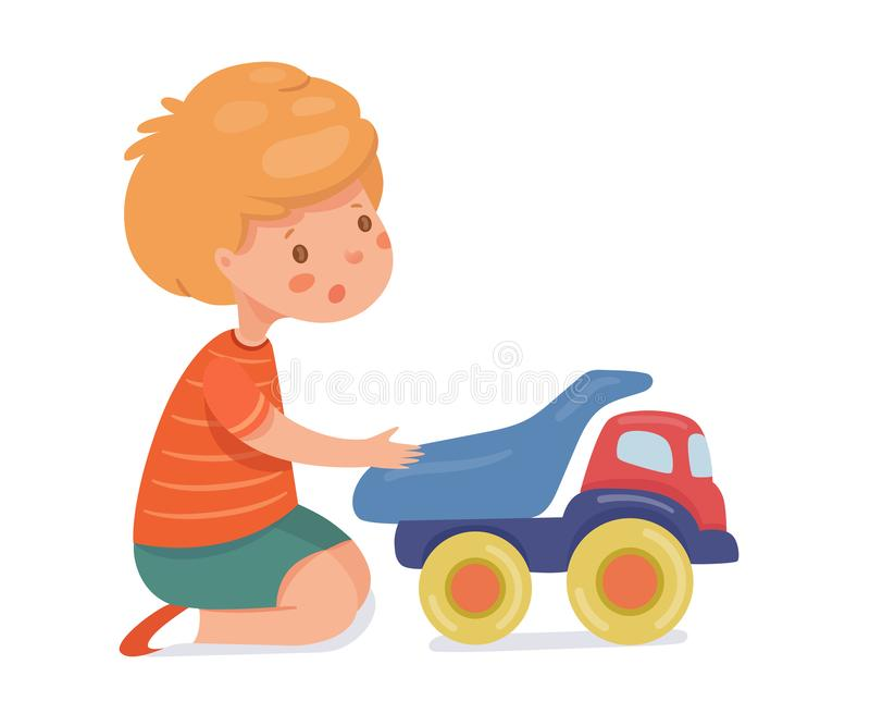 Boy playing with toy car flat vector illustration stock illustration