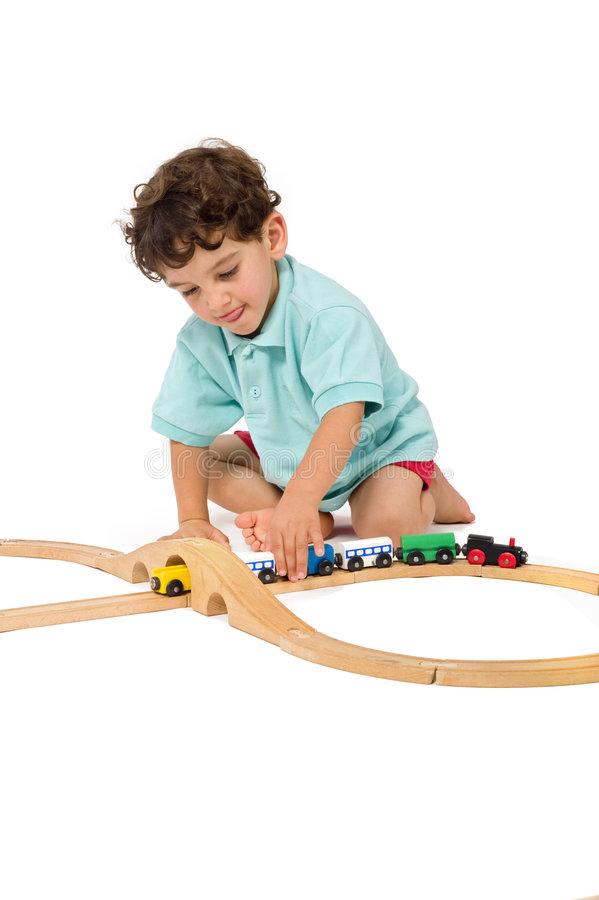 Download Boy playing with train stock image. Image of house, modeling - 5531689