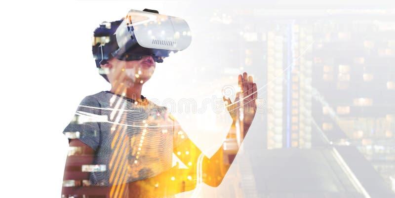Boy playing using virtual reality headset vector illustration