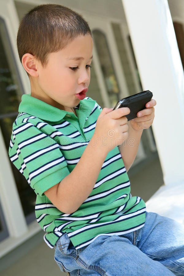 Boy Playing Video Game stock image