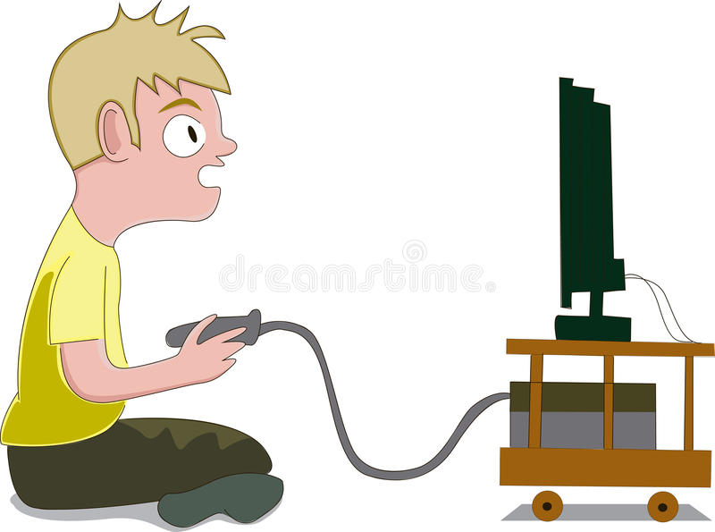 Boy playing video games vector illustration