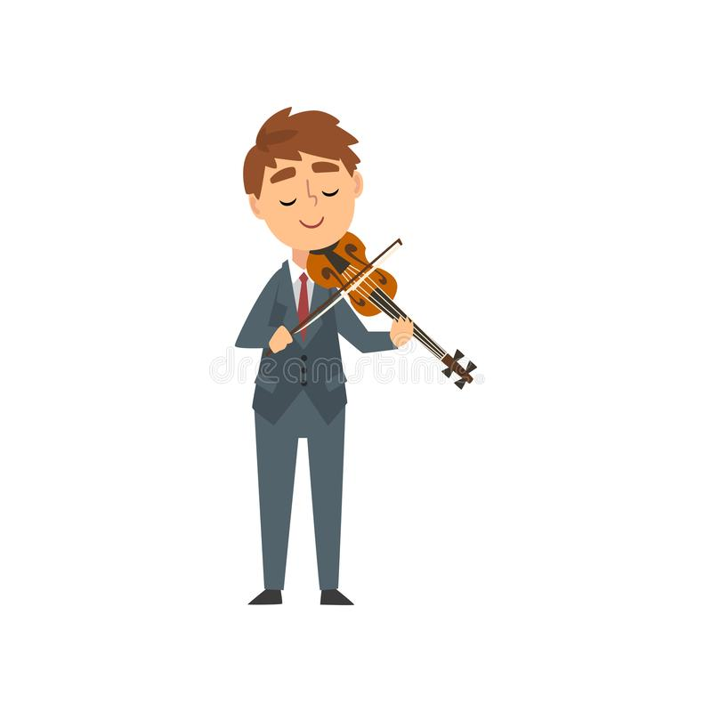 Boy Playing Violin, Talented Young Violinist Character Playing Acoustic Musical Instrument, Concert of Classical Music. Vector Illustration on White Background stock illustration