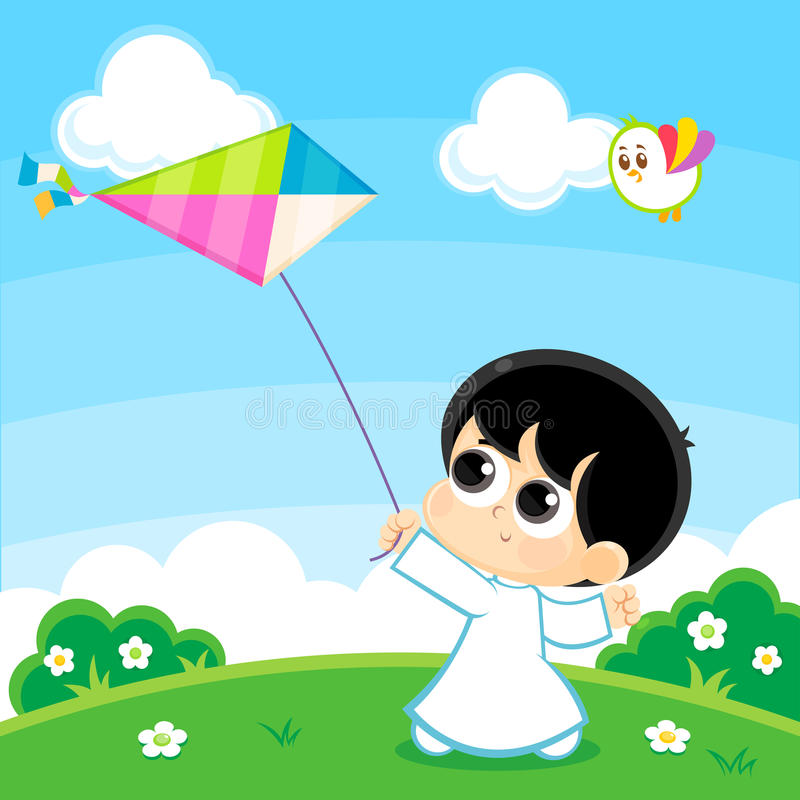 Free Boy Playing With A Kite Royalty Free Stock Photography - 76875407