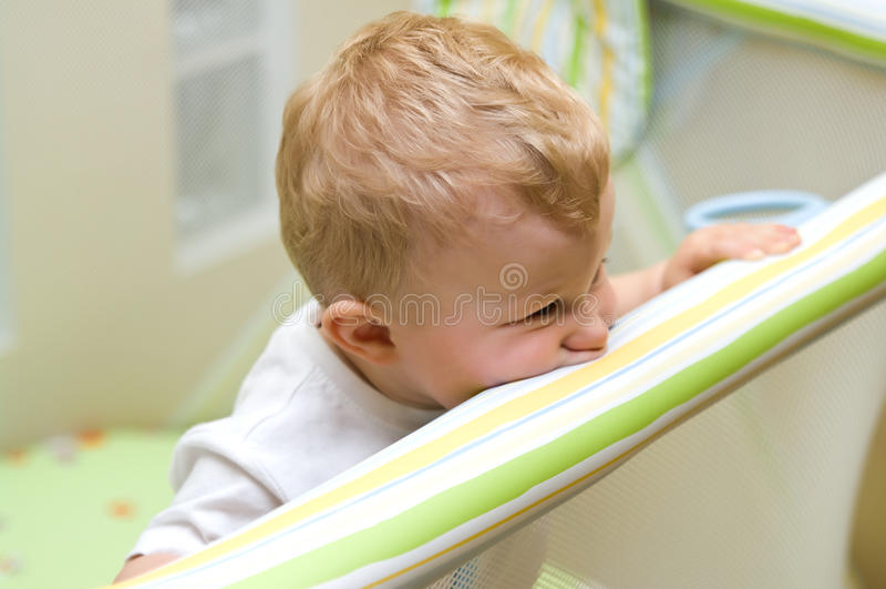 Boy In Playpen Stock Photography
