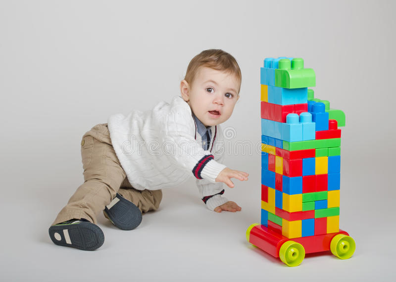 Boy plays stock photo