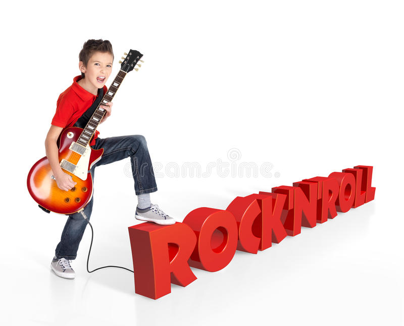 Download Boy Plays On Electric Guitar With 3d Text Stock Photo - Image: 29038156
