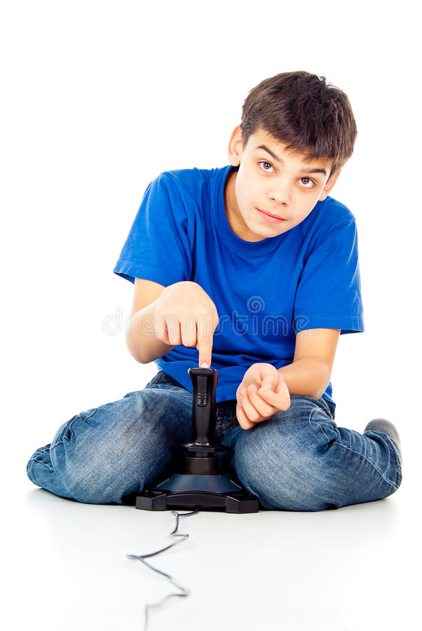 Download Boy plays on the joystick stock photo. Image of dependence - 27400944