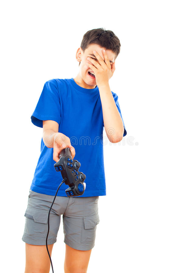Download Boy plays with a joystick stock image. Image of lying - 27401775