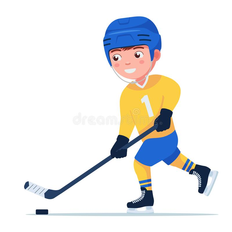 Boy plays professional hockey. Boy hockey player in a sports uniform plays with a stick and a puck. Young child plays professional hockey. Vector illustration vector illustration