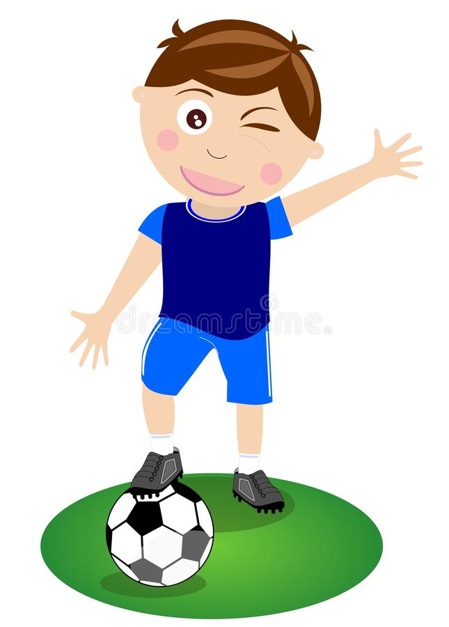 kid boy plays soccer isolated stock illustration