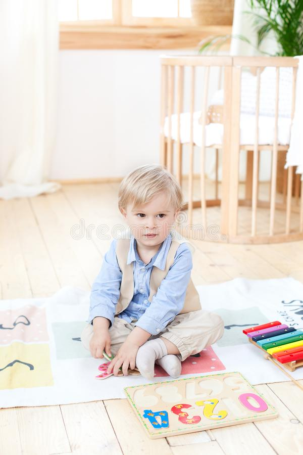 The boy plays with wooden toys at home. Educational wooden toys for the child. Portrait of a boy sitting on the floor in the child royalty free stock photography