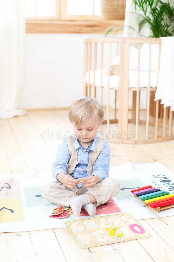 The boy plays with wooden toys at home. Educational wooden toys for the child. Portrait of a boy sitting on the floor in the child royalty free stock image