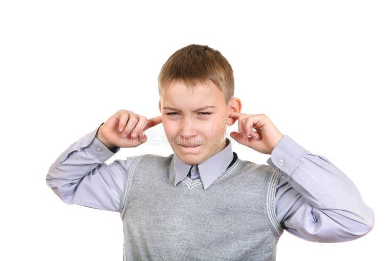 Boy Plug The Ears Stock Photos