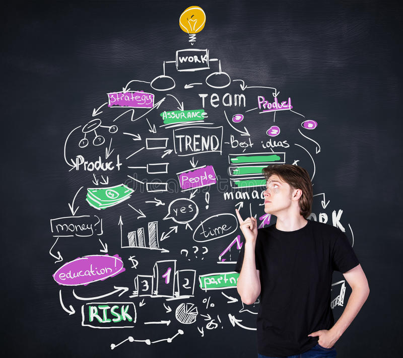 Boy pointing at business sketch. Handsome young boy pointing at creative business idea sketch on blackboard background stock photos