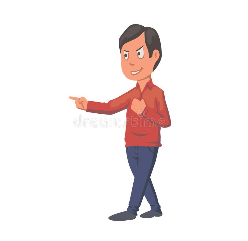 Boy pointing finger, arguing student. Flat vector illustration. Isolated on white background.  vector illustration