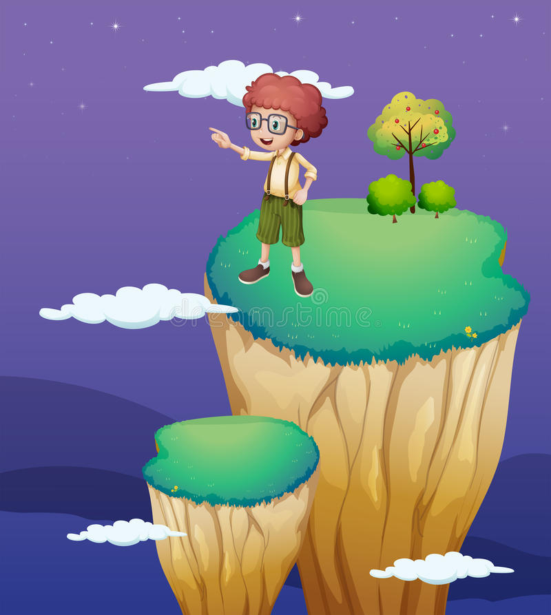 A boy pointing at the sky stock illustration