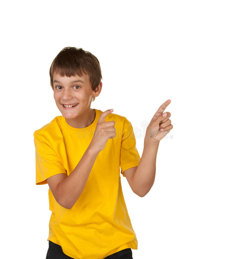 Download Boy pointing to copyspace stock photo. Image of white - 13222698