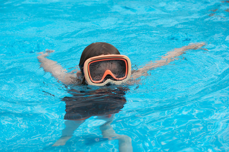 Boy in pool royalty free stock images