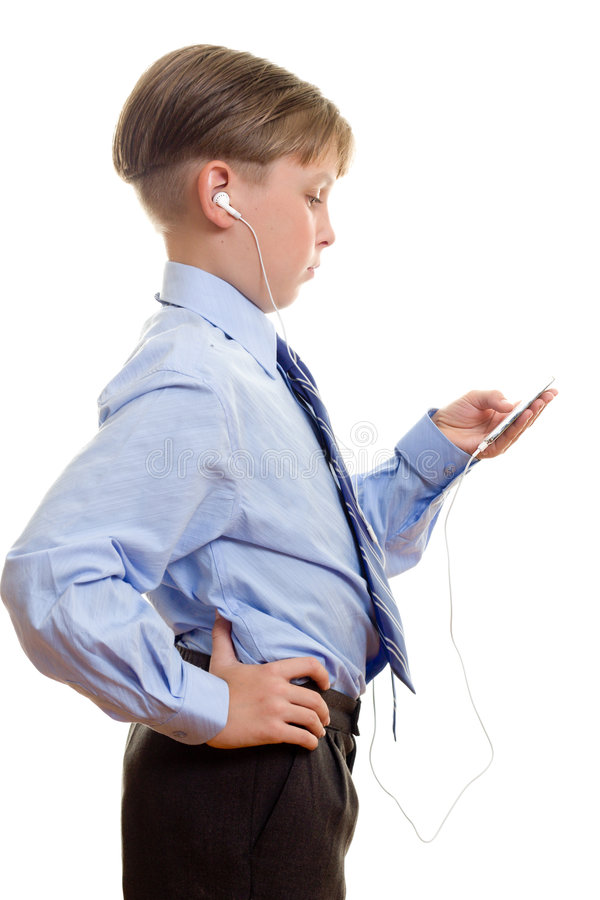 Download Boy With Portable Music Player Stock Image - Image: 520455