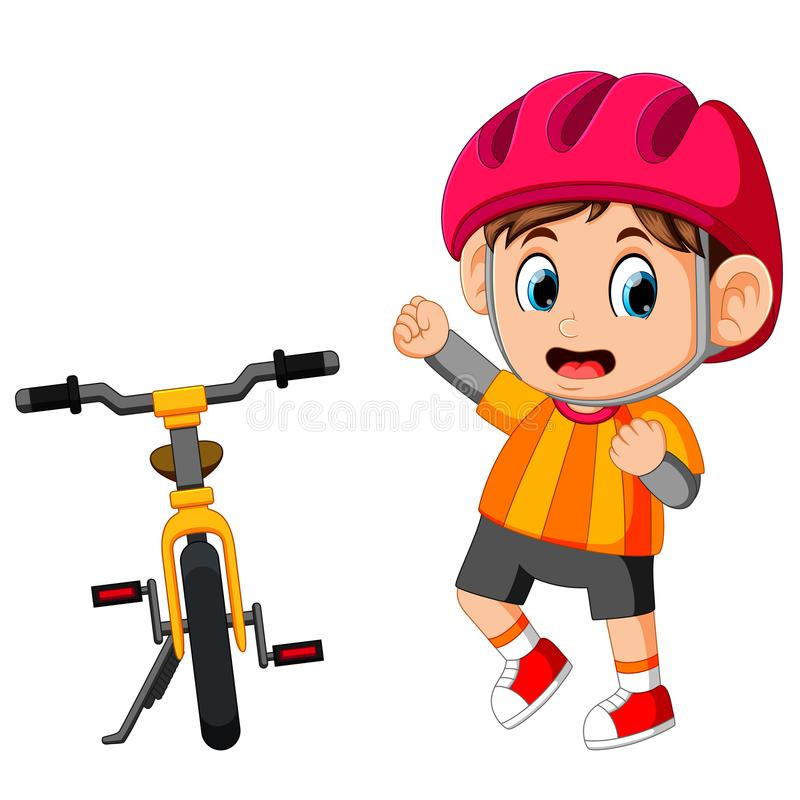 A Boy posing with a bicycle. Illustration of A Boy posing with a bicycle vector illustration