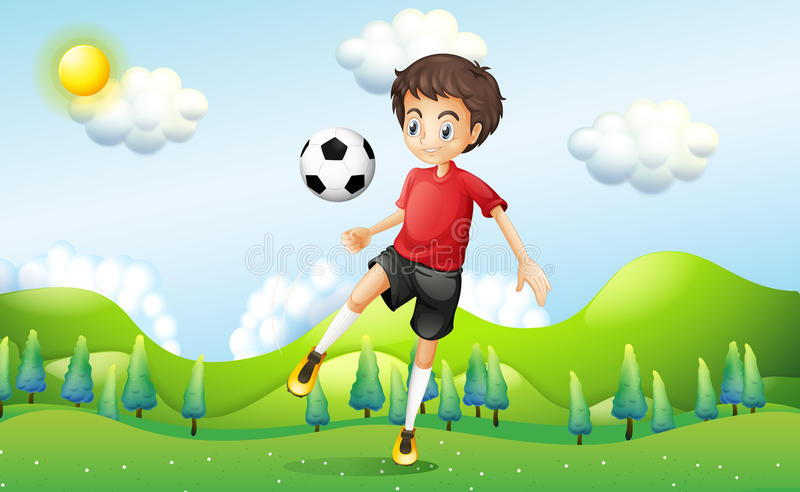 A boy practicing soccer at the hill royalty free illustration