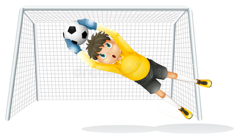 A boy practicing to catch the soccer ball stock illustration