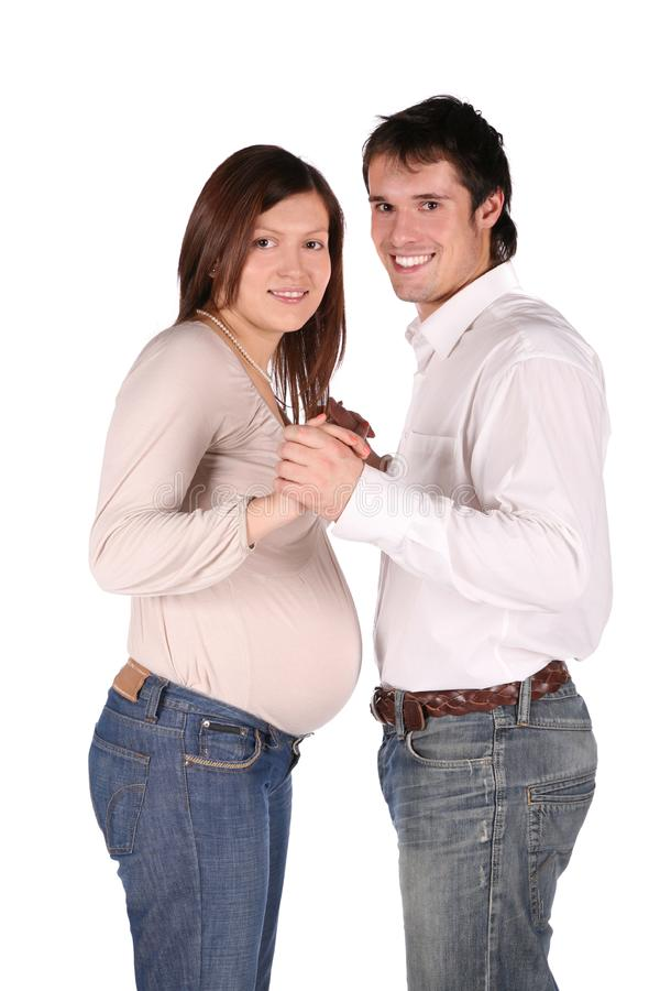 Boy and pregnant girl royalty free stock images