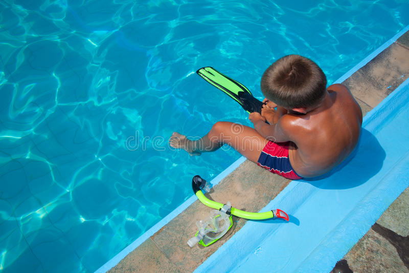 Download Boy Preparing To Dive Into Pool 2 Stock Photo - Image: 26531106