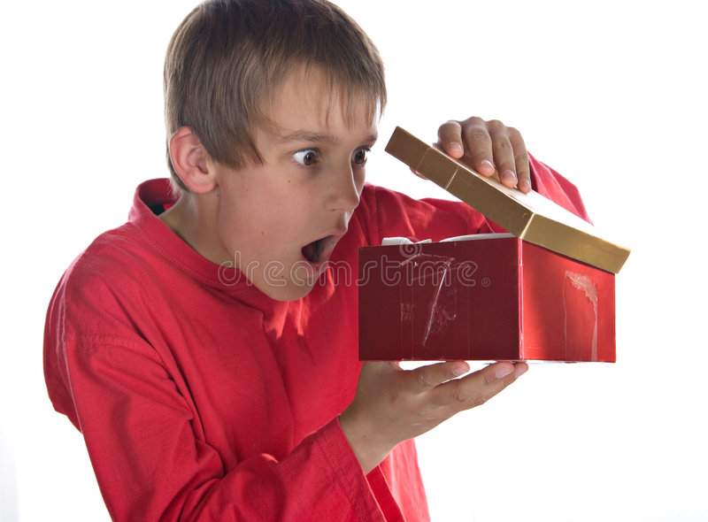Download Boy with present stock image. Image of gift, peek, look - 6569037