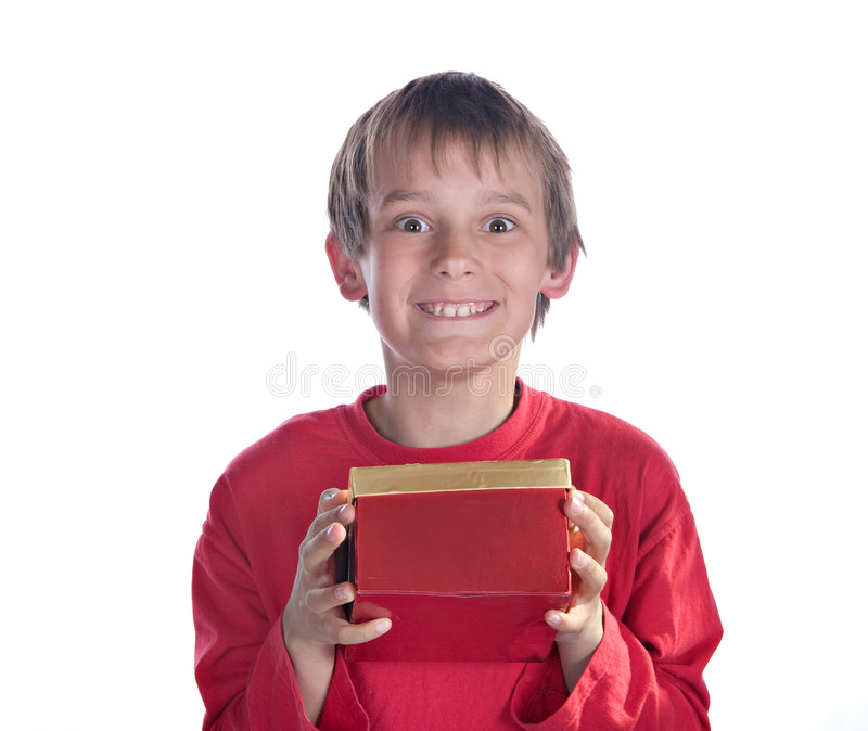 Boy With Present Stock Photos