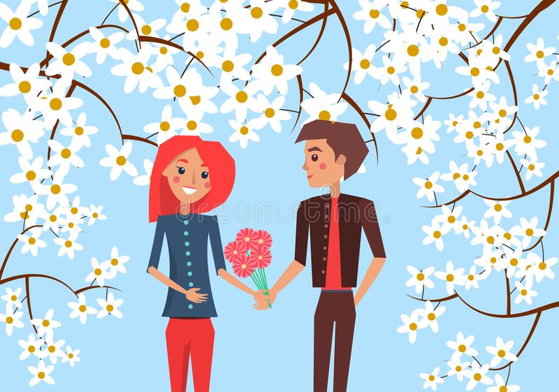 Boy Presents Bouquet to Girlfriend Illustration. Boy presents bouquet of red gerberas to his redhead girlfriend on blue background surrounded with blooming stock illustration