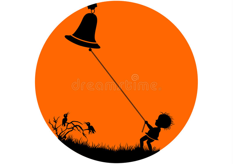 Boy Puling Bell royalty free stock images