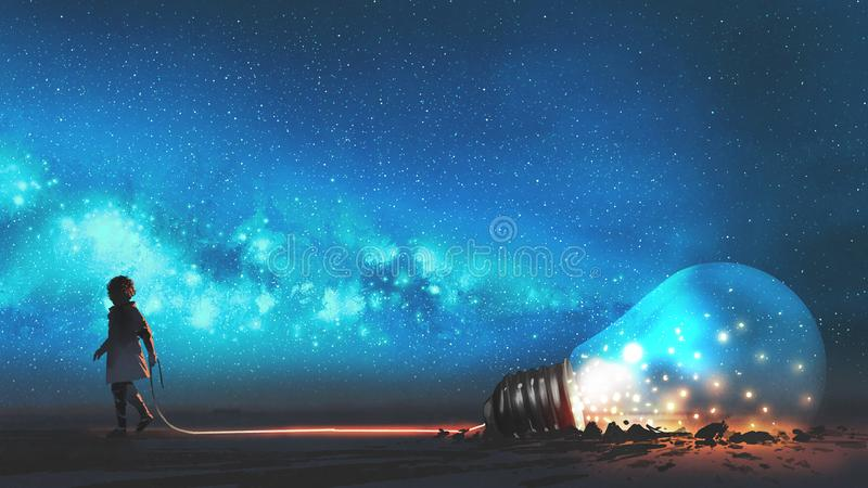 Boy pulled the bulb buried in the ground. Boy pulled the big bulb half buried in the ground against night sky with stars and space dust, digital art style vector illustration