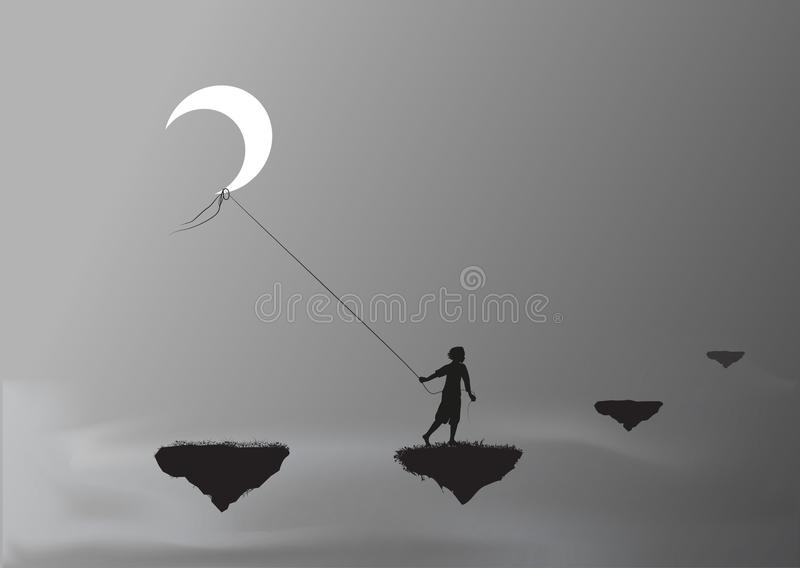 Boy pulling the moon and walking on a flying rock, steal the moon, wonderland, dream, royalty free illustration