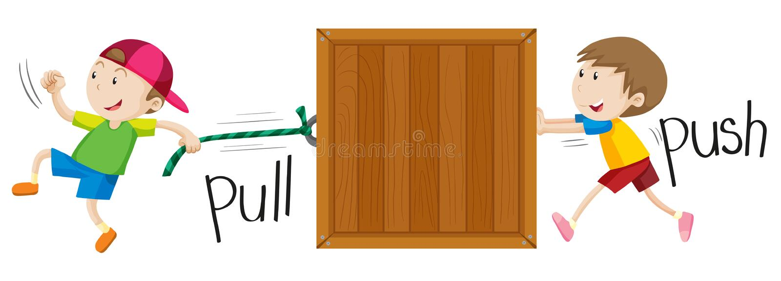 Boy pulling and pushing wooden box vector illustration