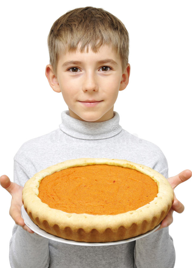 Download Boy With Pumpkin Pie Stock Image - Image: 21913751