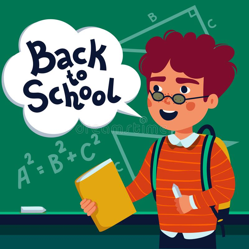 Boy pupil in front of blackboard. Happy child holding book and speech bubble with back to school text. Flat style vector vector illustration