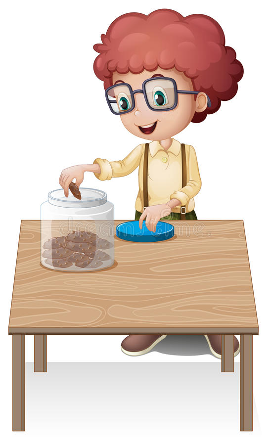 Download A Boy Putting Chips In The Jar Stock Vector - Image: 32709647
