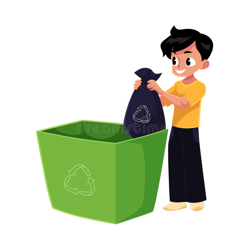 Cartoon Boy Trash Stock Vector Illustration Of Dispose