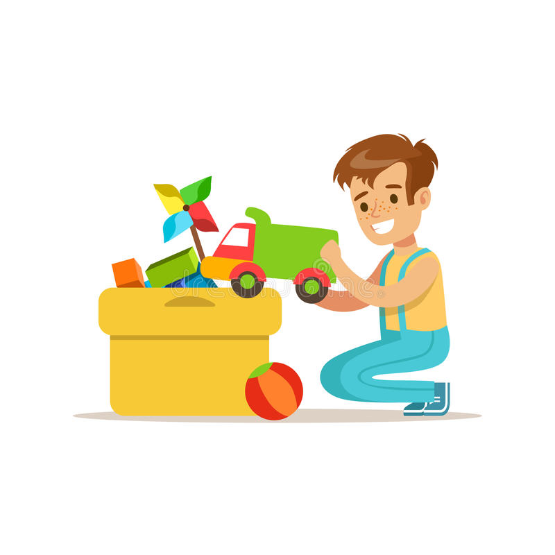 Put Together Toys For Boys : Boy putting his toys in special box smiling cartoon kid