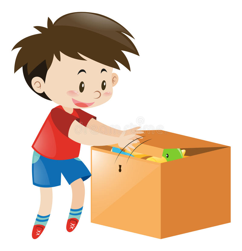 Boy Putting Things In Wooden Box Stock Illustration ...