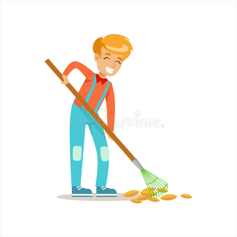 Boy Raking Fallen Autumn Leaves Helping In Eco-Friendly Gardening Outdoors Part Of Kids And Nature Series. Happy Child Interacting With Nature And royalty free illustration