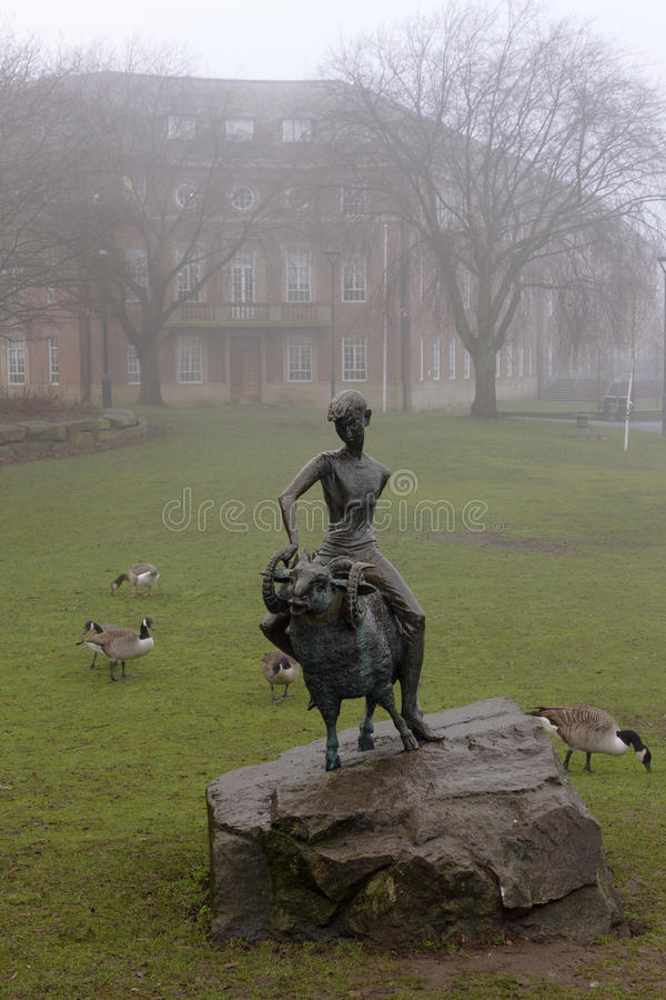 The boy and the ram, a sculpture symbol of the city of Derby, England. The boy and the ram, a sculpture symbol of the city of Derby, England, United Kingdom. It stock image