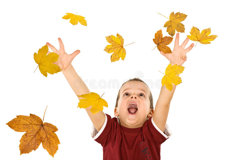 Download Boy Reaching For The Falling Autumn Leaves Stock Image - Image: 10910229