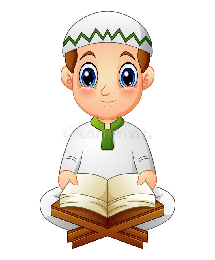 Boy read Quran the holy book of Islam. Illustration of boy read Quran the holy book of Islam royalty free illustration