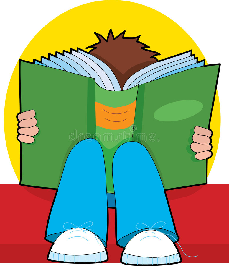 Boy reading. A child reading a giant book on his lap vector illustration